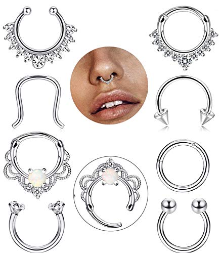 FIBO STEEL 8 Pcs 16g Stainless Steel Septum Ring Nose Hoop Clicker Septum Retainer Set Body Piercing Jewelry (A1:8 pcs Silver-Tone)