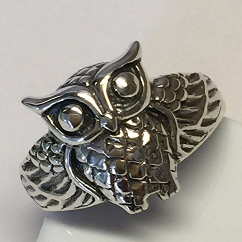 Owl 925 Solid Sterling Silver Oxidized Finished Spiritual Good Luck Ring sz 6, 7
