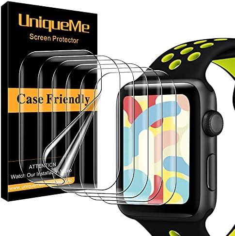 [6 Pack] UniqueMe TPU Screen Protector for Apple Watch 44mm Series 5/6/SE, [Upgrade Flexible Film] Soft HD TPU Clear Anti-Scratch Film