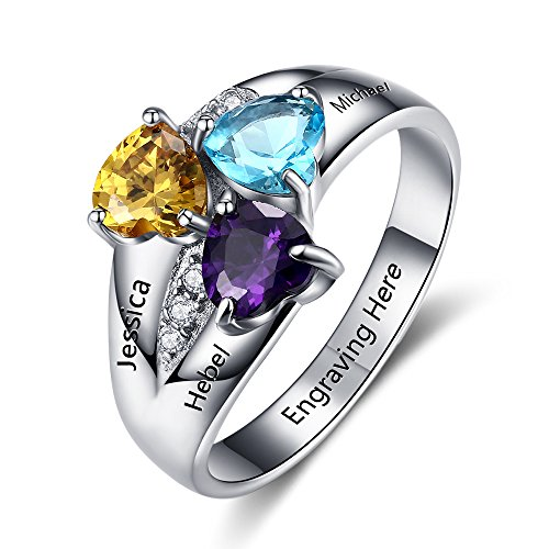 Design Your Own Mothers Ring with 3 Childrens Simulated Birthstone Engraved 3 Names Mom Jewelry Gifts (7) (3 Stone Ring Design)