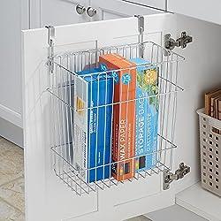 mDesign Over the Cabinet or Wall Mount Wastebasket Trash Can or Storage Basket for Kitchen - Chrome