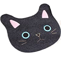 Ustide Cartoon Door Mat Non Slip Bath Tub Rug Black Rug Cute Cat Bath Rugs Childrens Cartoon Bath Mat TPR Non-Skid Floor Rug for Toilet/Bedroom