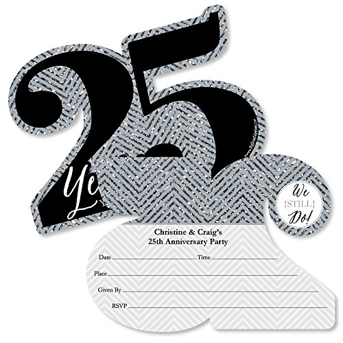 - Custom We Still Do - 25th Wedding Anniversary - Personalized Anniversary Party Invitations - Fill in Invitation Cards with Envelopes - Set of 12