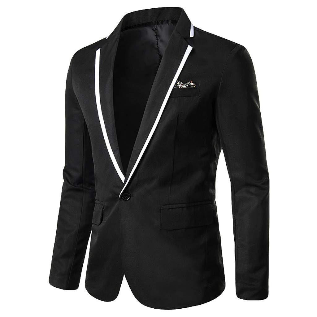 TIFENNY Men's Stylish Suit Casual Solid Lapel Blazer Business Wedding Party Outwear Coat Suit Tops One Button Black