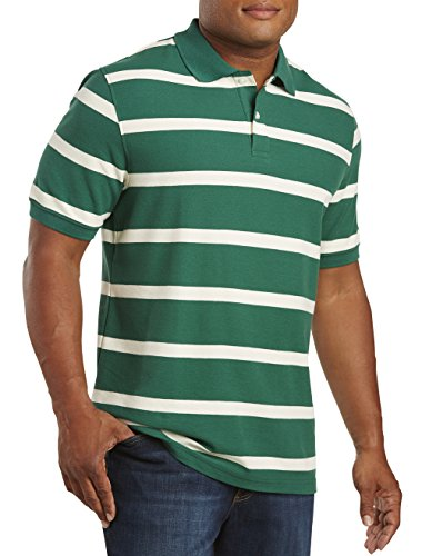 Harbor Bay DXL Big and Tall Large Rugby Stripe Polo, Green 3XL Big And Tall Rugby