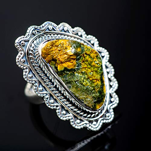 Ana Silver Co Large Rough Ocean Jasper Ring Size 6.25 (925 Sterling Silver) - Handmade Jewelry, Bohemian, Vintage RING952870