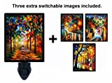 Night Light w/ Switchable Inserts - Leonid Afremov Trees offers