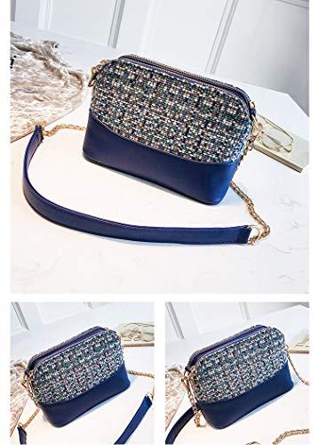 Chaîne Tweed Bandoulière Bleu Femme Mini Sac Tisdaini p5wzS