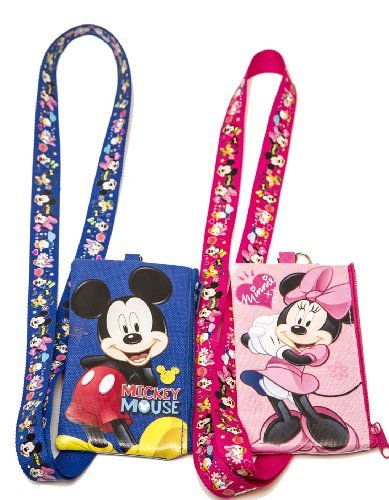 Set of 2 Mickey and Minnie Mouse Lanyards with Detachable Coin Purse