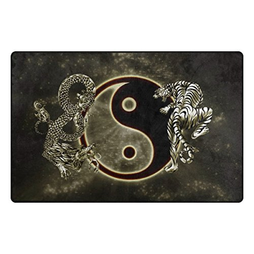 INGBAGS Super Soft Modern Chinese Dragon Tiger Tai Bagua Yin Yang Black And White Area Rugs Living Room Carpet Bedroom Rug for Children Play Solid Home Decorator Floor Rug and Carpets 60 x 39 Inch