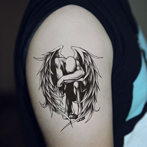 Fallen Angel Make Up (SanerLian Waterproof Temporary Tattoo Stickers Sexy Fallen Angels Wings Design Body Art Set of)