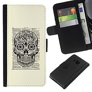 For HTC One M9 Case , Book Paper Book Rustic Death Ink - la tarjeta de Crédito Slots PU Funda de cuero Monedero caso cubierta de piel