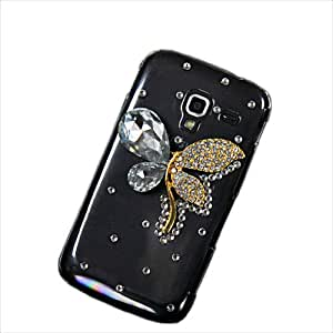 MOONCASE Bling Rhinestone Crystal Butterfly Style Devise Hard Back Case Cover for Samsung I8160 Galaxy Ace 2