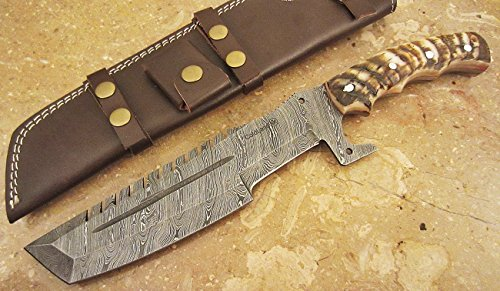 ColdLand Knives | One-of-a-Kind 14'' Custom Handmade Damascus Steel Tracker Survival Hunting Knife Ram Horn Z07X 14' Survival Knife