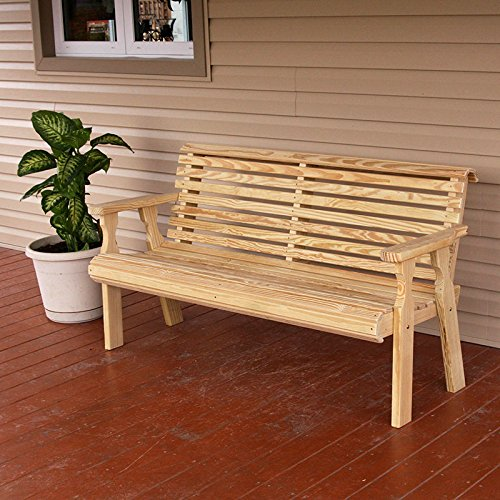 Cafe Amish Heavy Duty 800 Lb Roll Back Pressure Treated Garden Bench (5 Foot, Unfinished) - Amish Bench