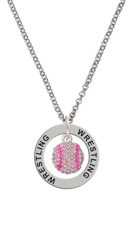 Small Sparkle Pink AB Softball - Wrestling Affirmation Ring Necklace by Cheer Bunny