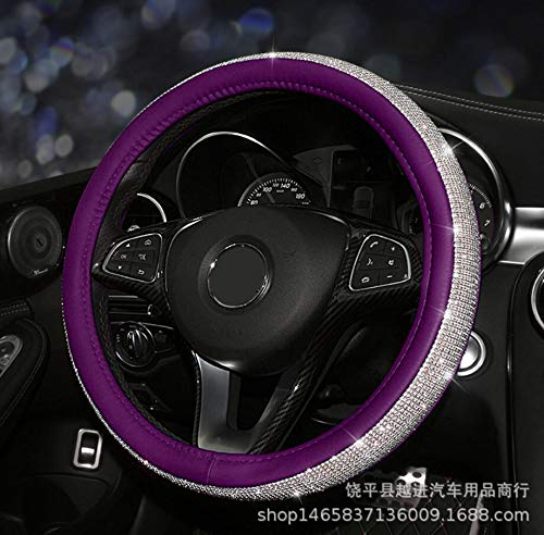 YUWATON Bling Car Interior Rhinestone Accessories for Women Car Steering Wheel Cover Case Set Biong Accessories Universal fit for Steering Wheel with 38 cm(15 inch) in Diameter (Purple)