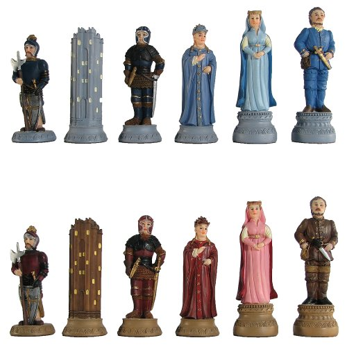 Medieval Hand Painted Polystone Chess Pieces ()