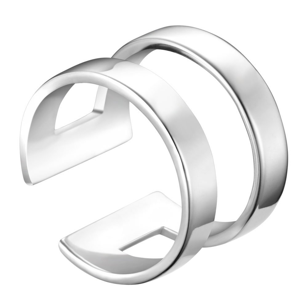 SHEGRACE 925 Sterling Silver Cute Knuckle Rings (Adjustable), Wide Double Bands Cuff Ring