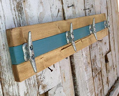 Nautical Boat Cleat Coat Rack, Towel Rack, or Hat Rack, Teal and Natural Pine