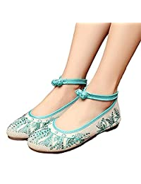 ZYZF Womens Embroidery Hot Drill Point Toe Flats Mary Jane Shoes