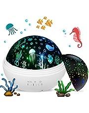 Projektor nocny dla dzieci, projektor gwiazdy księżyc i ocean fala obrotowa lampa, najlepsza lampka nocna do sypialni dziecięcej (biała)