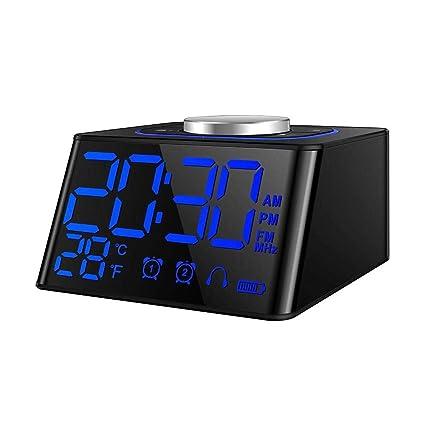 Sroomcla Radio Reloj Despertador, Escritorio LED Digital Termómetro Reloj Despertador con repetición, Carga Dual
