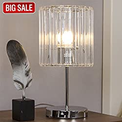 SOTTAE Fashionable Modern Bedroom Living Room Bedside Table Lamp, Desk Lamp With Clear Shade