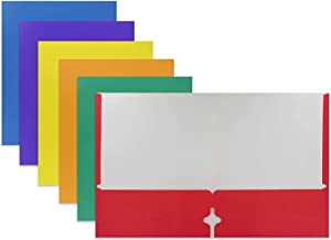 Emraw 2 Pocket Portfolio Two Pockets Folder Legal Document Organizer Designed for Home, Office, School, Classroom, Medical Records and More - Assorted Color (Pack of 3)