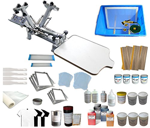 TechTongda Screen Printing Machine 1 Station 4 Color Screen Printing Kit for T-shirt DIY Screen Printing Press