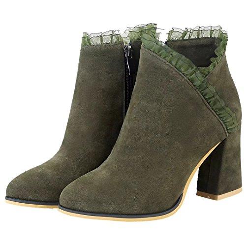 AIYOUMEI Damen Blockabsatz Stiefeletten mit Spitze High Heel Ankle Boots Winter Stiefel Schuhe Grün