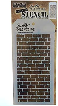 """Stampers Anonymous Tim Holtz Layered Stencil 4.125/""""X8.5/""""-Bricked"""