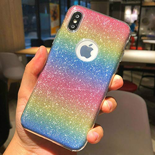 iPhone X Case, iPhone 10 Case, Ebetterr Rainbow Glitter Bling Dual Layer Shockproof Case for Girls Women Slim Fit Anti Scratch Soft TPU Outer Cover + Hard PC Inner Protective Shell Cover for iPhone X