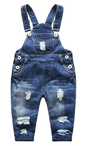 Boys In Bib Overalls (Boys Cute Blue Denim Distressed Front Bibs Jeans Overall Shotall Jumpsuit with Adjustable Strap 95 Blue)