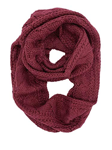 - YOUR SMILE - Premium Women Ribbed Thick Winter Warm Cable Knit Infinity Circle Loop Cowl Scarf,Red