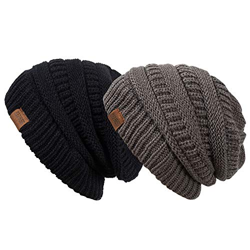REDESS Slouchy Beanie Hat Men Women 2 Pack Winter Warm Chunky Soft Oversized Cable Knit Cap