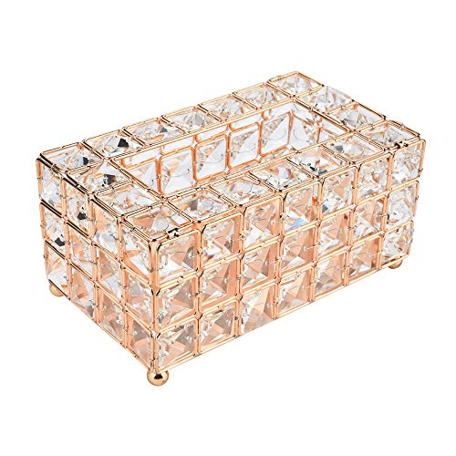 - SUJING Luxury Crystal Handmade Home Decorative Tissue Holder Box Decorative Tissue Box Cover Napkins Container (Gold)