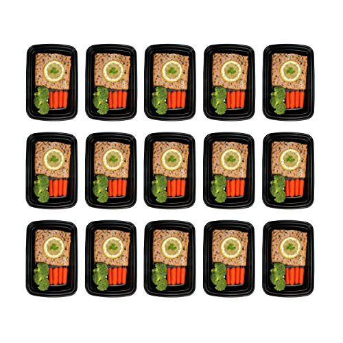 Freshware 15-Pack 1 Compartment Bento Lunch Boxes with Lids – Stackable, Reusable, Microwave, Dishwasher & Freezer Safe – Meal Prep, Portion Control, 21 Day Fix & Food Storage Containers (28oz)