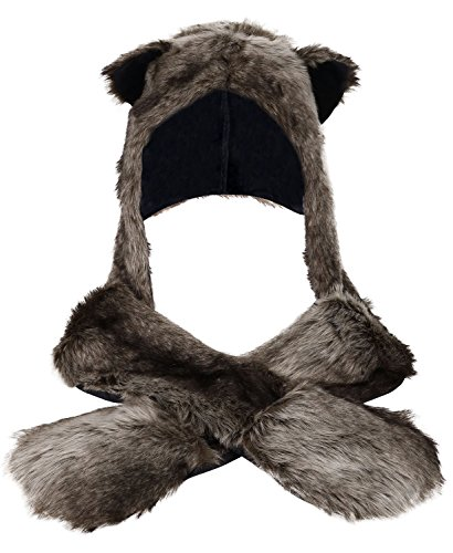Winter Warm Plush Faux Fur Animal Paws Hat Hoods Gloves Scarf,Grey Wolf ()