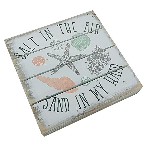"""SALT IN THE AIR, SAND IN MY HAIR - Perfect Pallet Petites 6"""" X 6"""" Wood Wall Art Sign"""