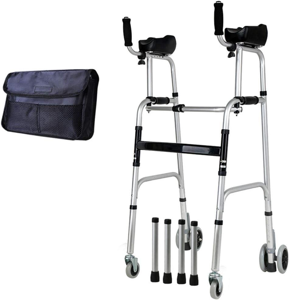 Caminante médico Rehabilitación de pie Anciano rodante Andador Vertical Marco de barandilla de aleación de Aluminio Andador médico portátil con Altura Ajustable Walking Aid