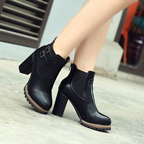Code Boots Boots Belt Heel High Heel Boots Thick KHSKX Tight Big Martin Buckled Forty Female Retro 5Rq0Hzw