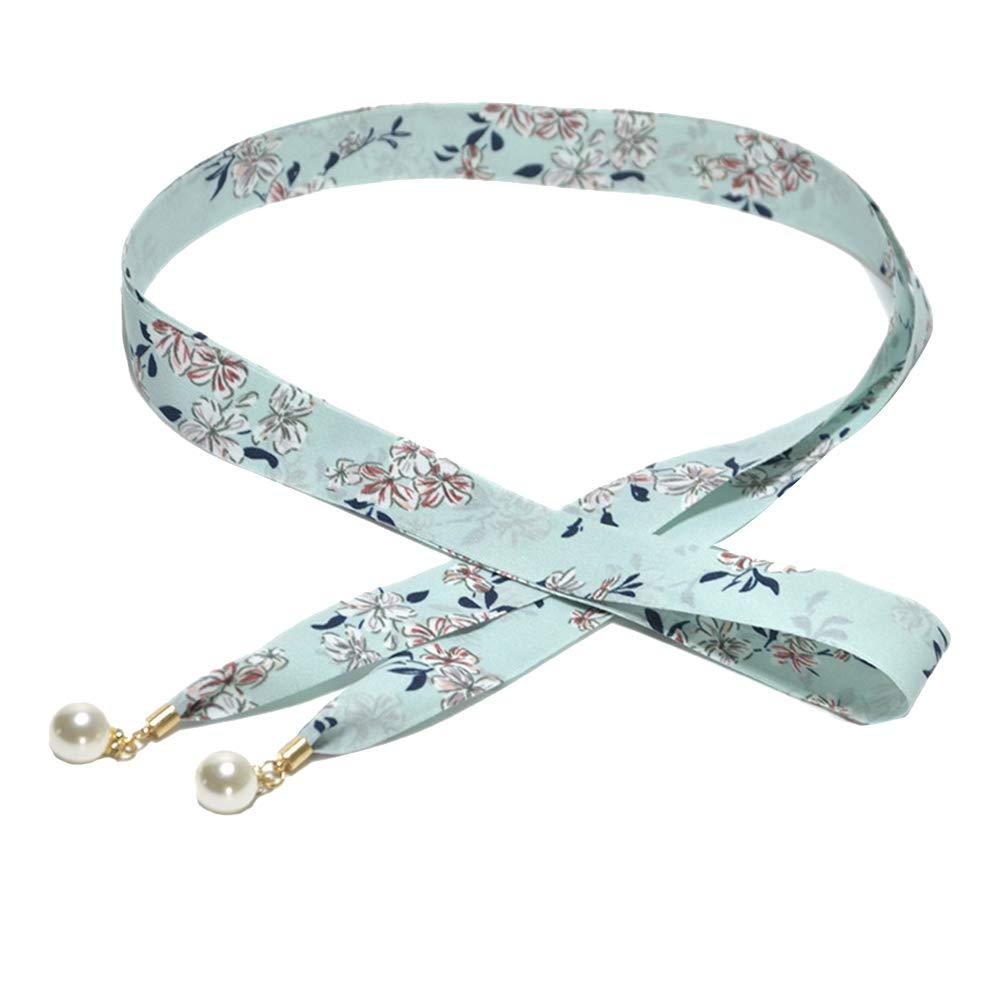 Alamana Vintage Stripes Floral Slim Faux Pearl Pendant Women Waist Belt Strap Waistband - Cyan Flower