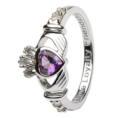 JUNE Birth Month Silver Claddagh Ring LS-SL90-6 - Size: 6 Made in Ireland.