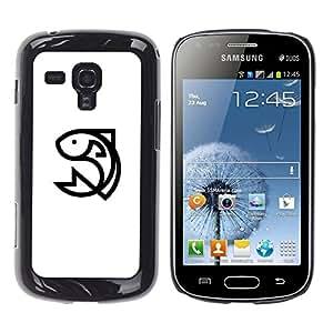 YOYOYO Smartphone Protección Defender Duro Negro Funda Imagen Diseño Carcasa Tapa Case Skin Cover Para Samsung Galaxy S Duos S7562 - un pez que salta, animado