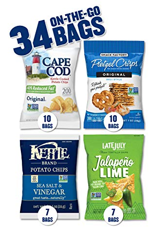 Snack Variety Pack with Kettle Brand and Cape Cod Potato Chips, Late July Tortilla Chips & Snack Factory Pretzel Crisps, 34 Count (Seaside Sampler)