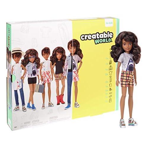 chollos oferta descuentos barato Creatable World Figura Unisex muñeco articulado pelucas castañas con rizos y accesorios Mattel GGT68 color modelo surtido