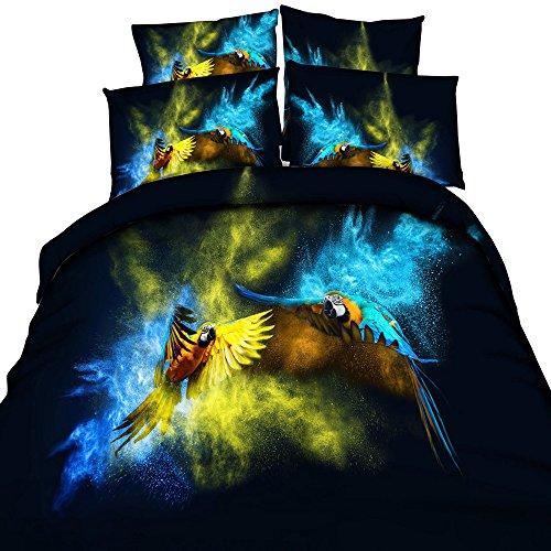 EsyDream 3D Oil Paitning Dream Lover Parrots Duvet Cover