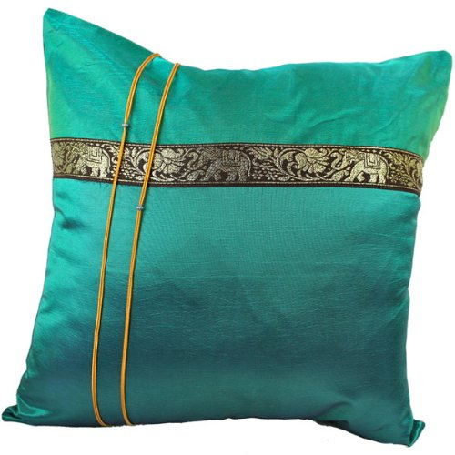 That's Perfect! Thai Elephant Band 18''x18'' Decorative Silk Throw Pillow Sham - COVER (Teal) by That's Perfect!