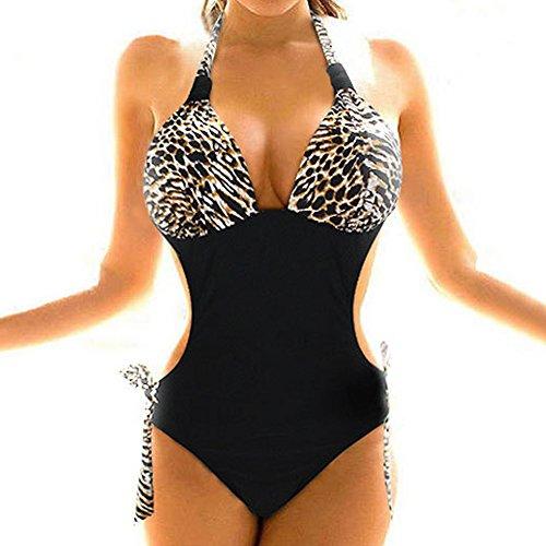 Janecrafts Women's New Sexy Leopard Backless One-piece Monokini Swimsuit Bathing Suit